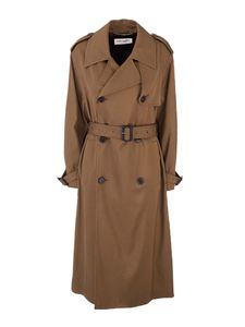 Saint Laurent - Twill trench coat in Khaki