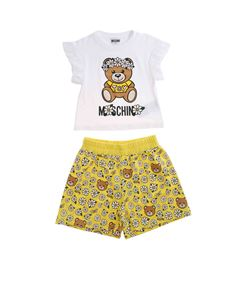Moschino Kids - Printed tracksuit in white and yellow