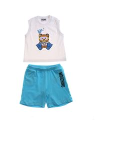 Moschino Kids - Teddy Sub tracksuit in white and light blue