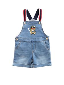 Moschino Kids - Teddy Pirate logo dungarees in blue