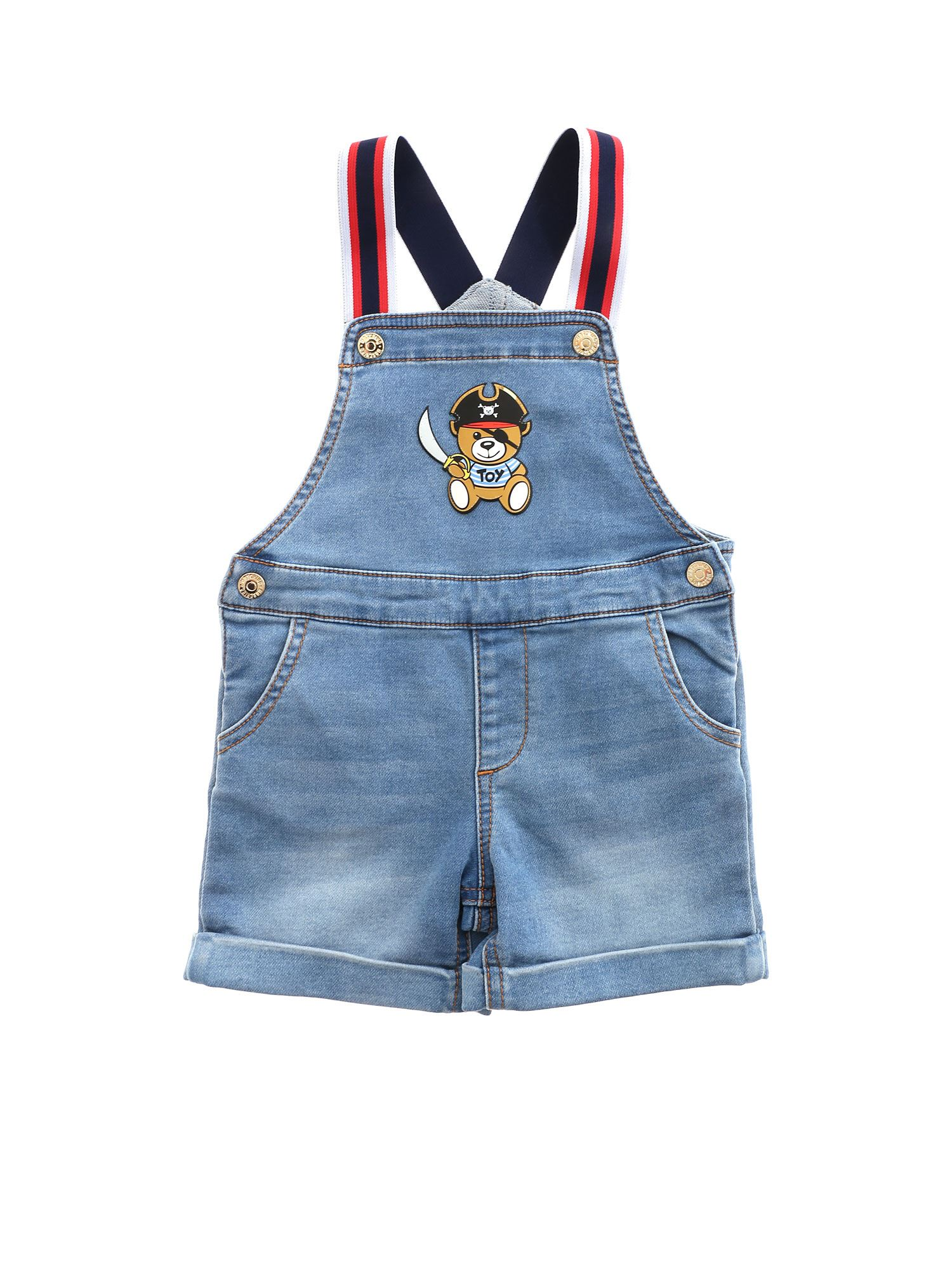 Moschino Jumpsuits TEDDY PIRATE LOGO DUNGAREES IN BLUE
