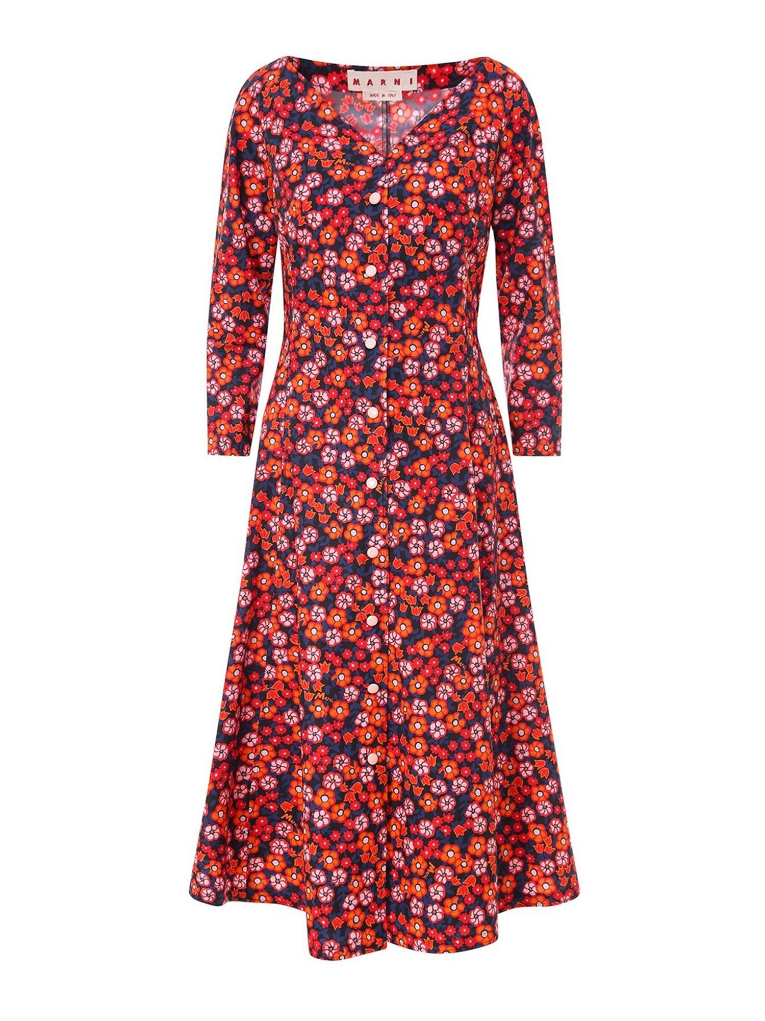 Marni COTTON FLORAL DRESS IN BLACK