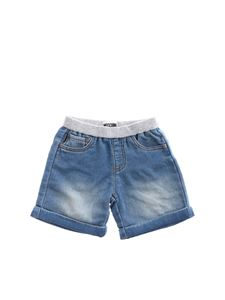 Moschino Kids - Bermuda con patch Teddy blu