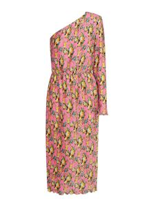 MSGM - Floral patterned one-sleeved dress in pink