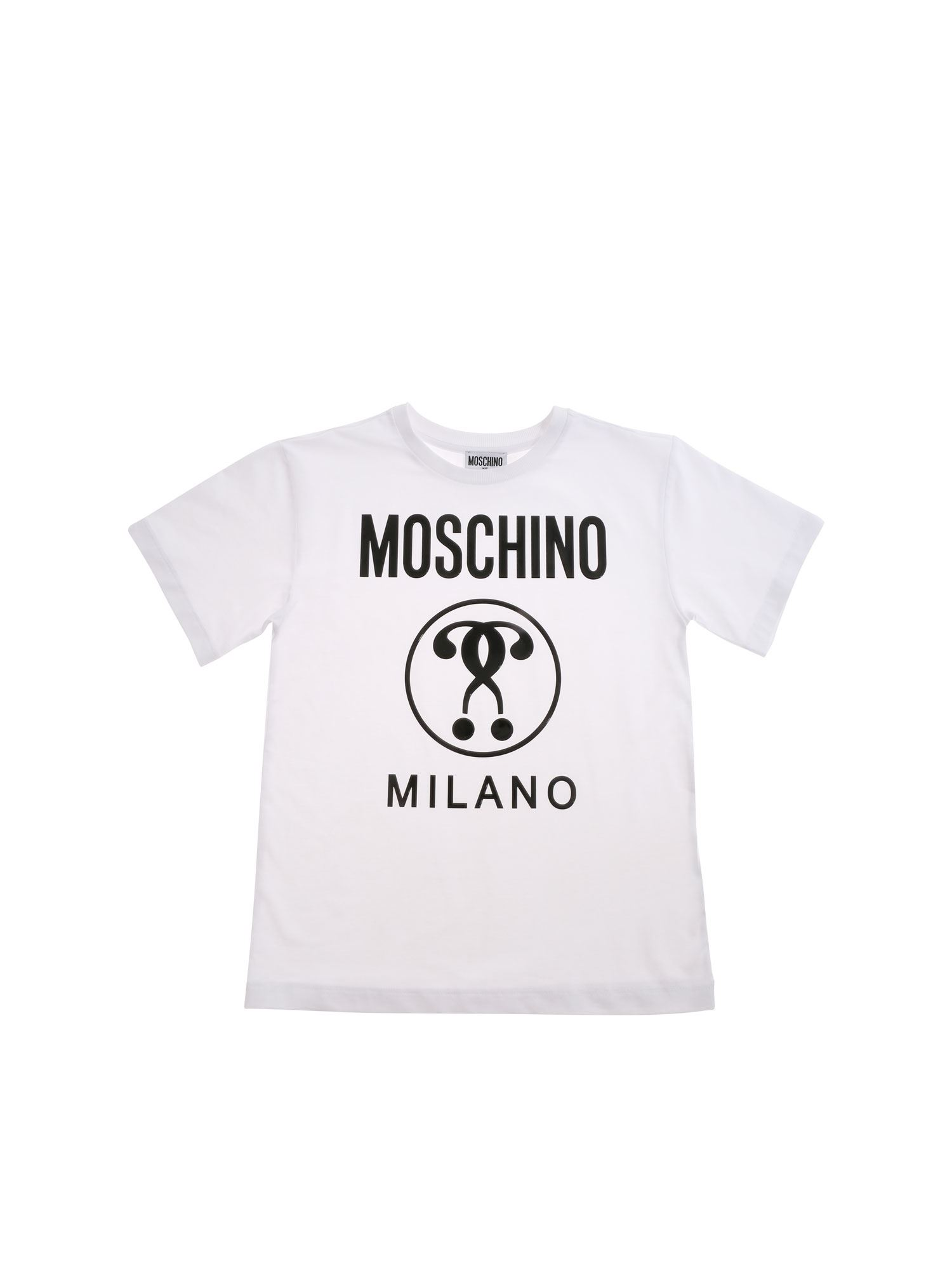 Moschino T-shirts DOUBLE QUESTION LOGO T-SHIRT IN WHITE