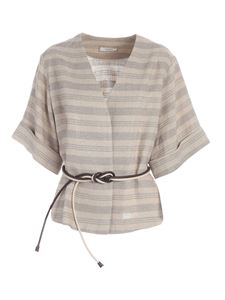 Peserico - Belted jacket in lamé beige