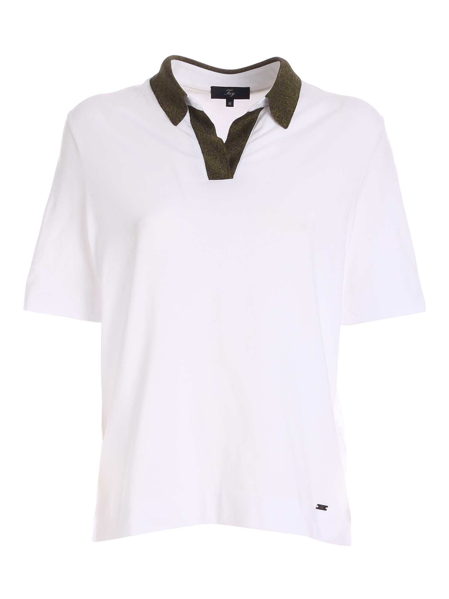 Fay LAMÉ NECKLINE POLO IN WHITE AND GREEN