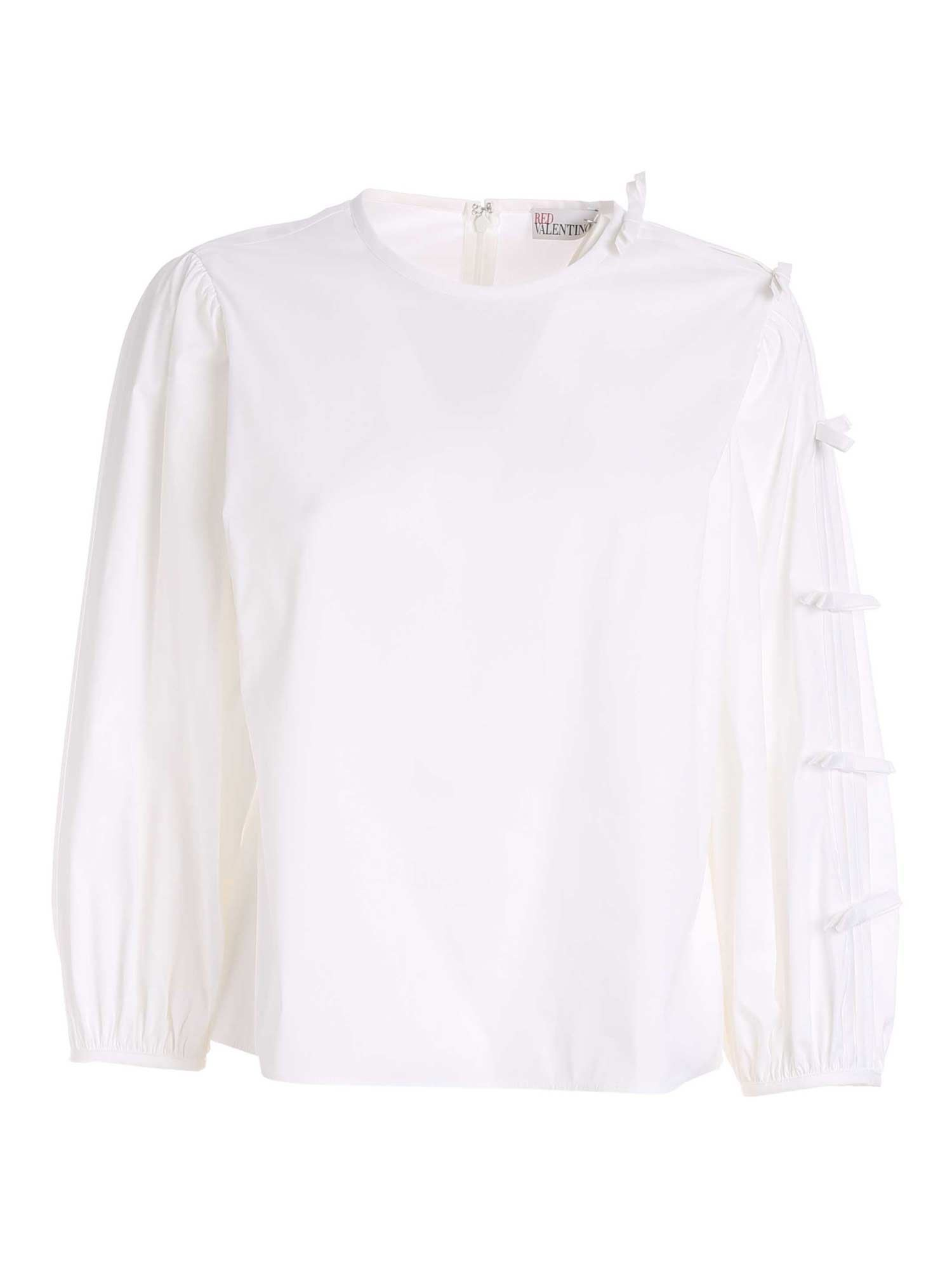 Red Valentino BOWS BLOUSE IN WHITE