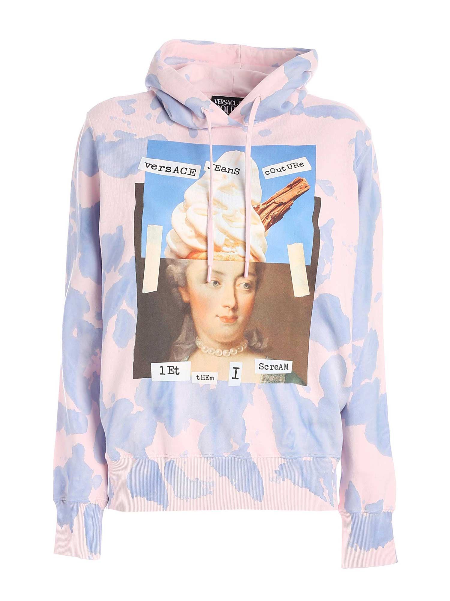 Versace Jeans Couture Cottons CAPSULE COLLECTION PRINTED HOODIE IN PINK AND LI
