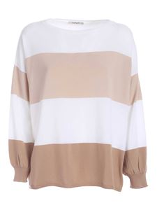 Kangra Cashmere - Striped sweater in white beige and brown