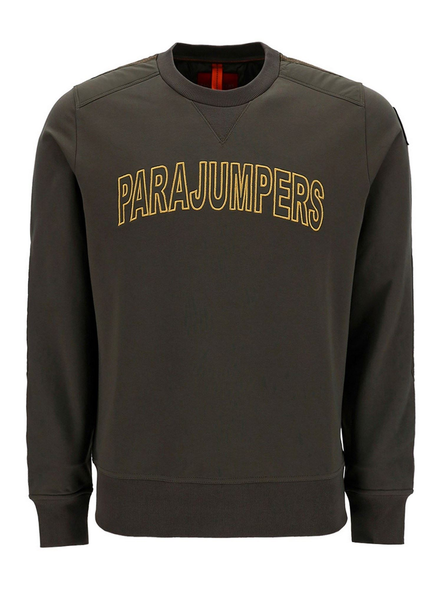 Parajumpers Cottons LOGO EMBROIDERY SWEATSHIRT IN GREEN