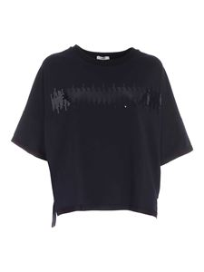 Peserico - Sequined boxy T-shirt in blue