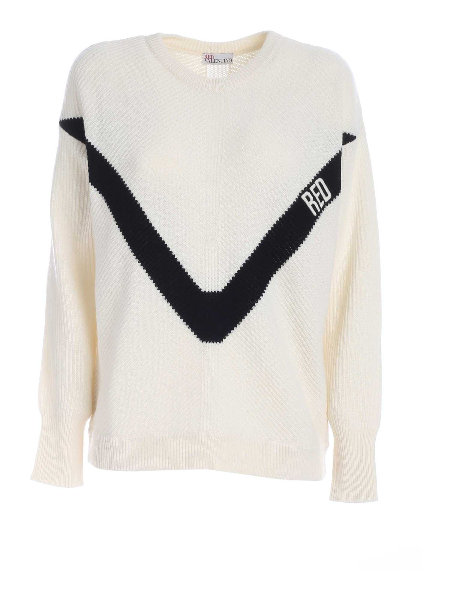 Red Valentino LOGO EMBROIDERED SWEATER IN IVORY