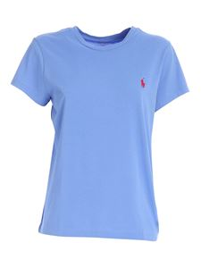 POLO Ralph Lauren - Red logo embroidery T-shirt in light blue