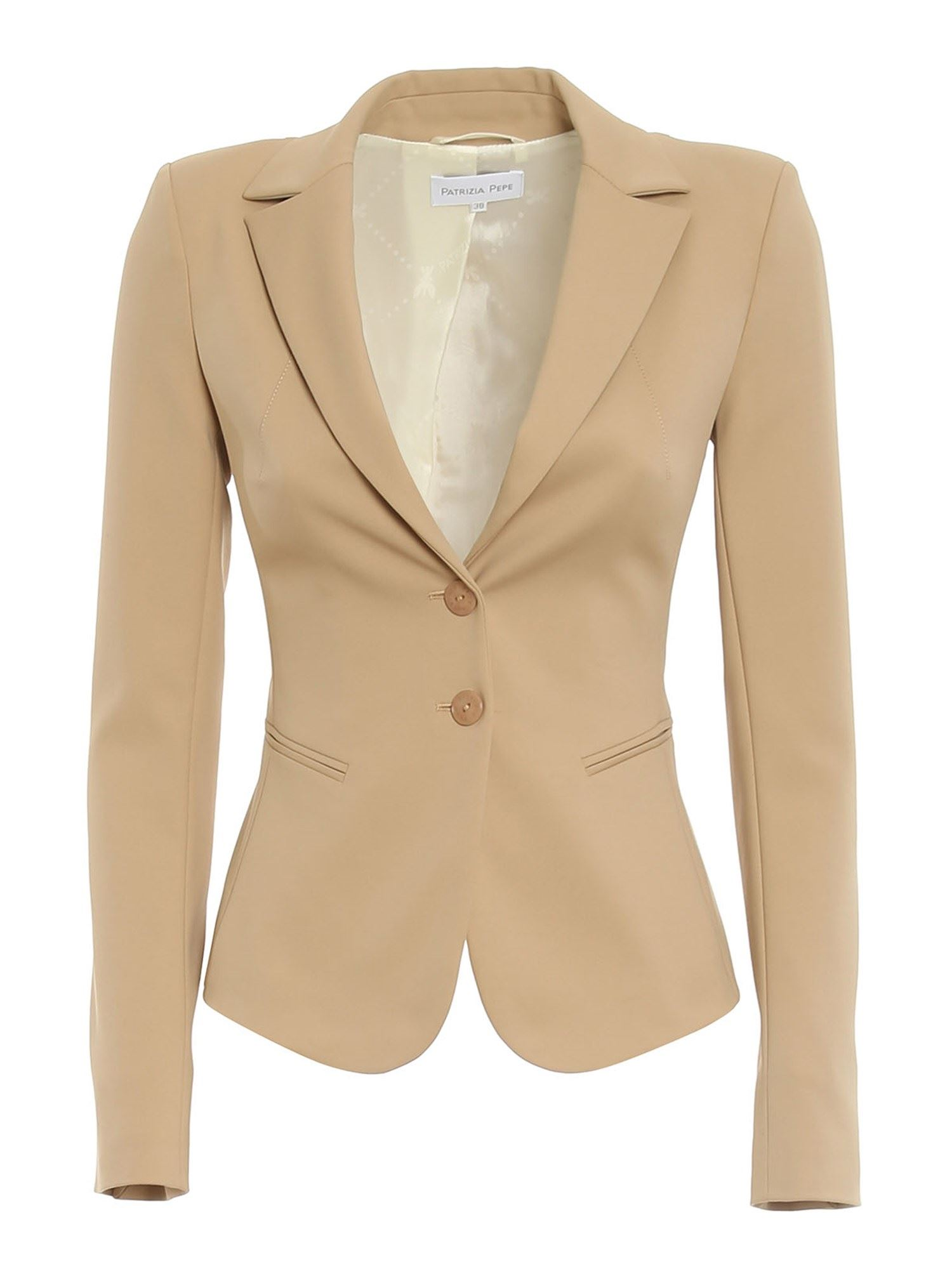 Patrizia Pepe STRETCH COTTON BLAZER IN BEIGE