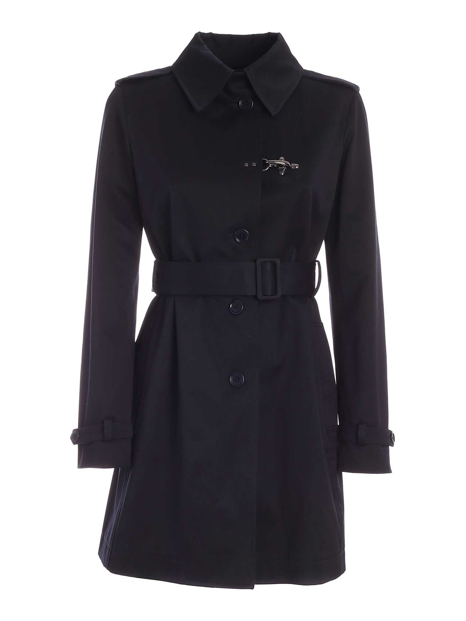 Fay Cottons HOOK TRENCH COAT IN BLUE