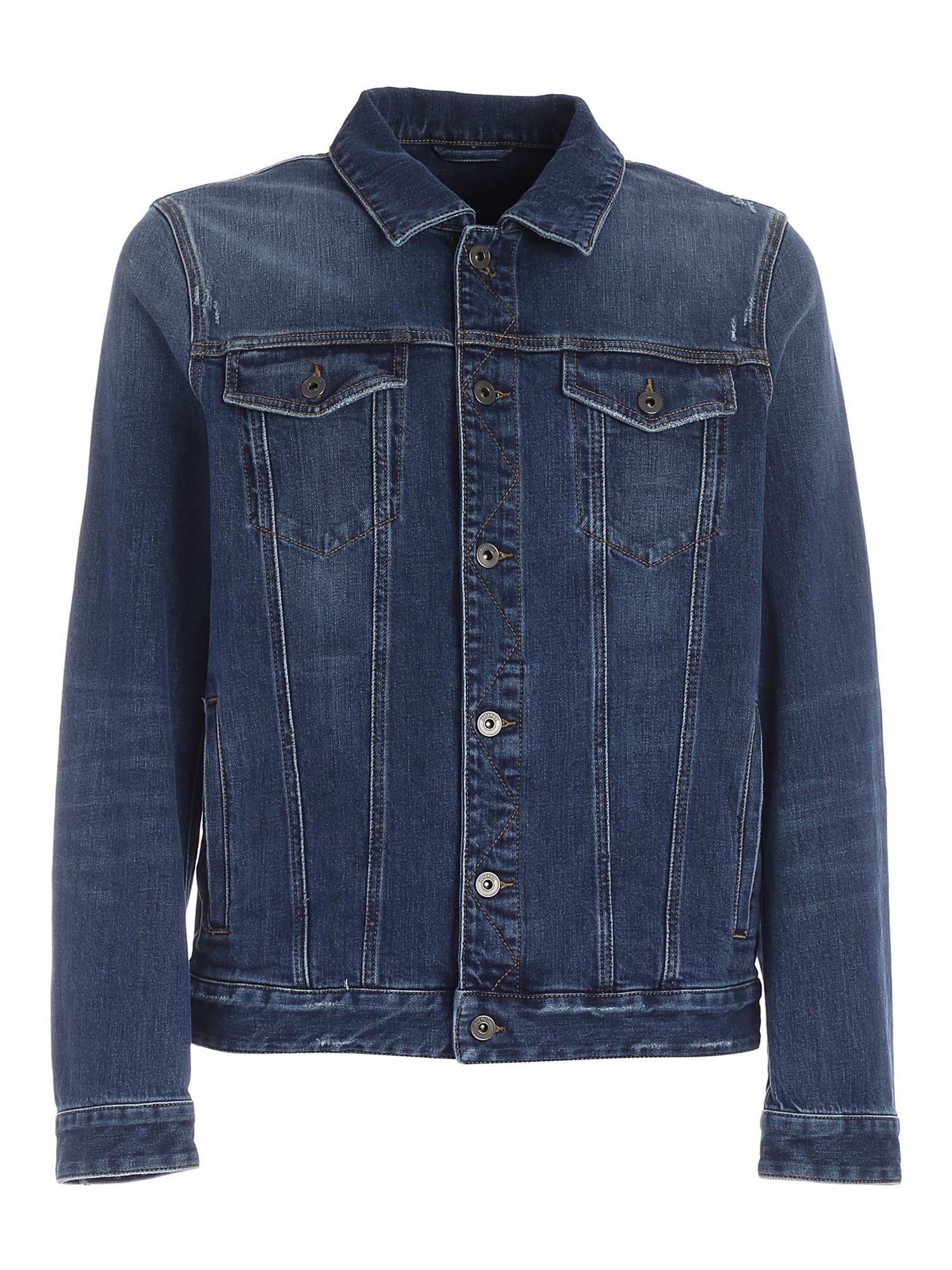 Peserico WORN-EFFECT DENIM JACKET IN BLUE