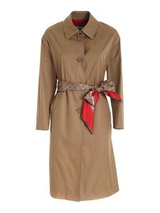 Herno - Silk detail trench coat in brown