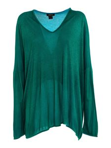 Avant Toi - Long sleeved T-shirt in mélange green