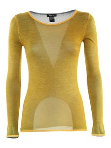 Avant Toi - Cotton long sleeved T-shirt in mélange yellow