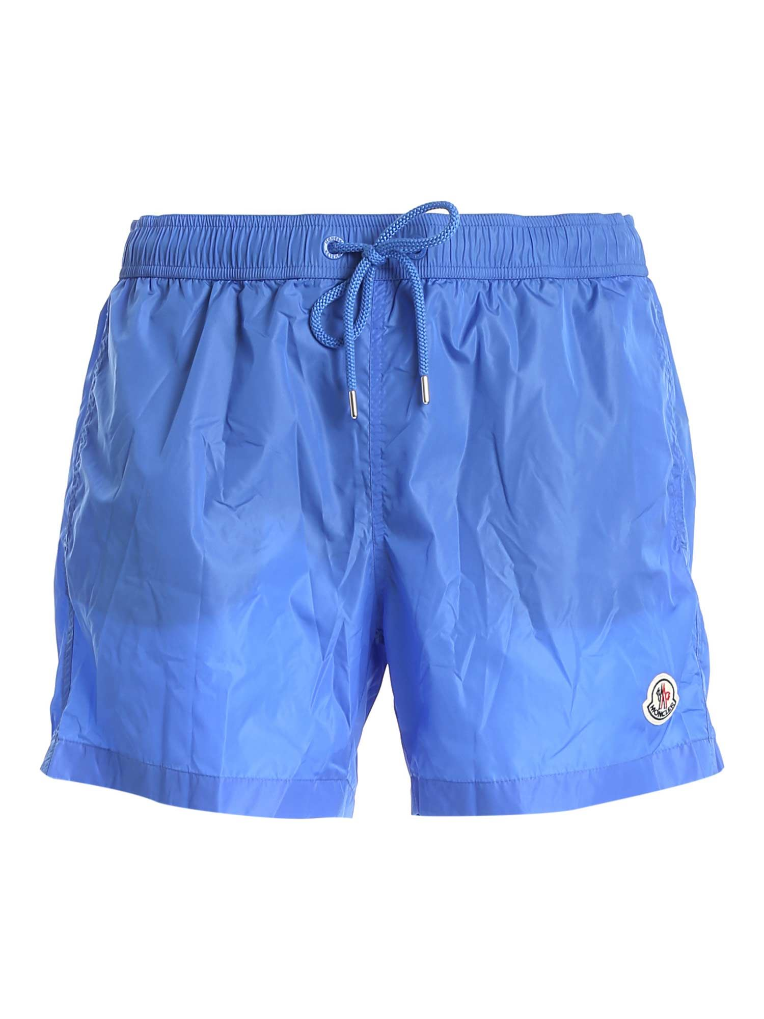 Moncler LOGO PATCH SWIM SHORT IN LIGHT BLUE