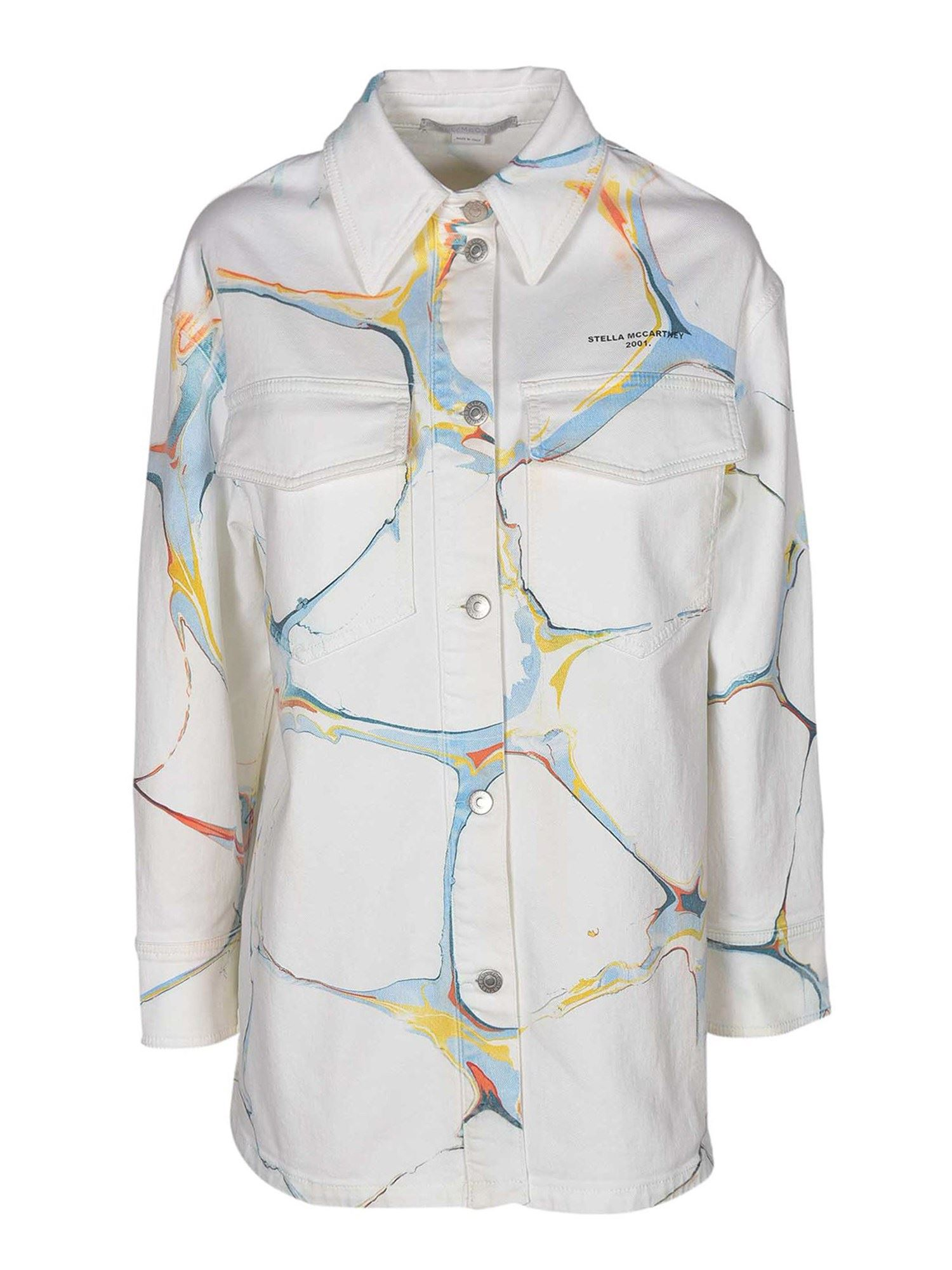 Stella Mccartney STELLA MCCARTNEY PATTERNED DENIM JACKET IN WHITE