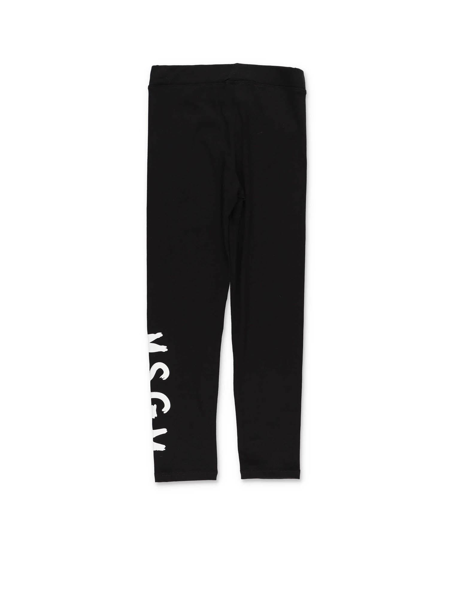 Msgm LOGO LEGGINGS IN BLACK