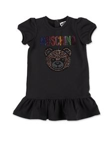 Moschino Kids - Vestito Teddy Bear Cristalli nero
