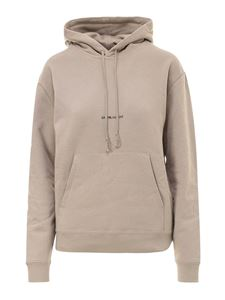 Saint Laurent - Logo print cotton hoodie in beige