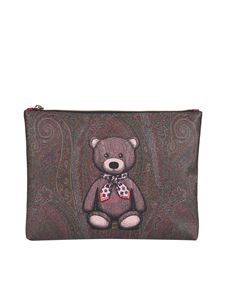 Etro - Paisley Bear clutch in brown