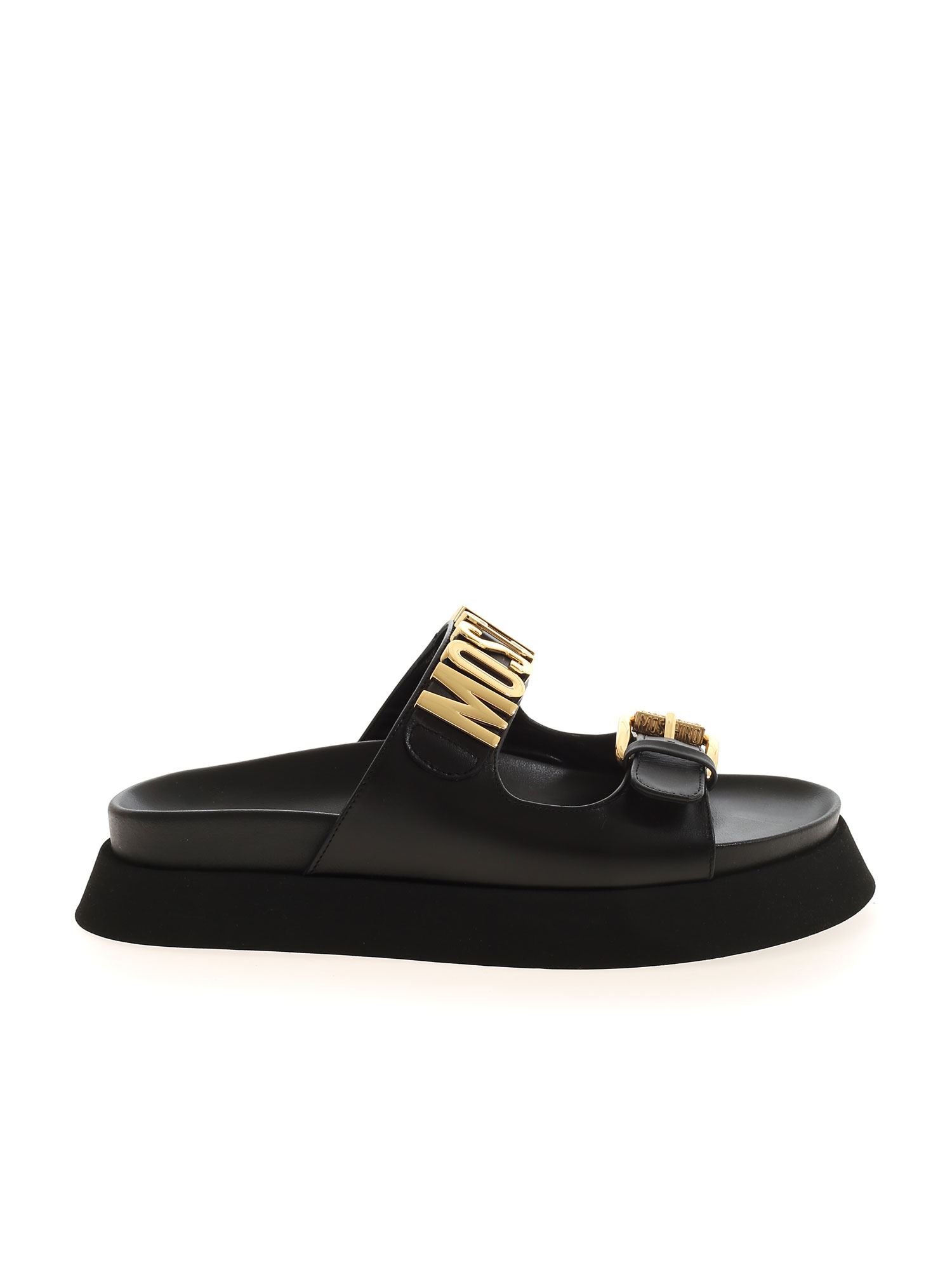 Moschino METAL LOGO SANDAL IN BLACK