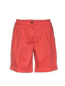 Fay - Turned-up hem bermuda in coral red