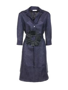 Barba - Belted shirt dress in blue