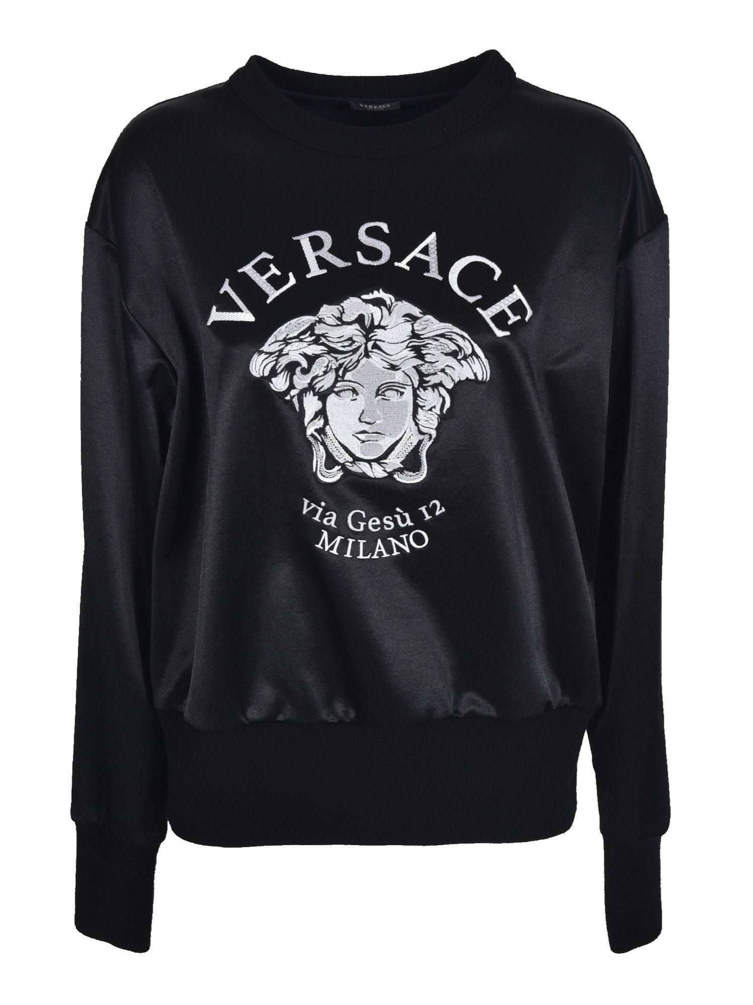 Versace EMBROIDERED MEDUSA LOGO SWEATSHIRT IN BLACK