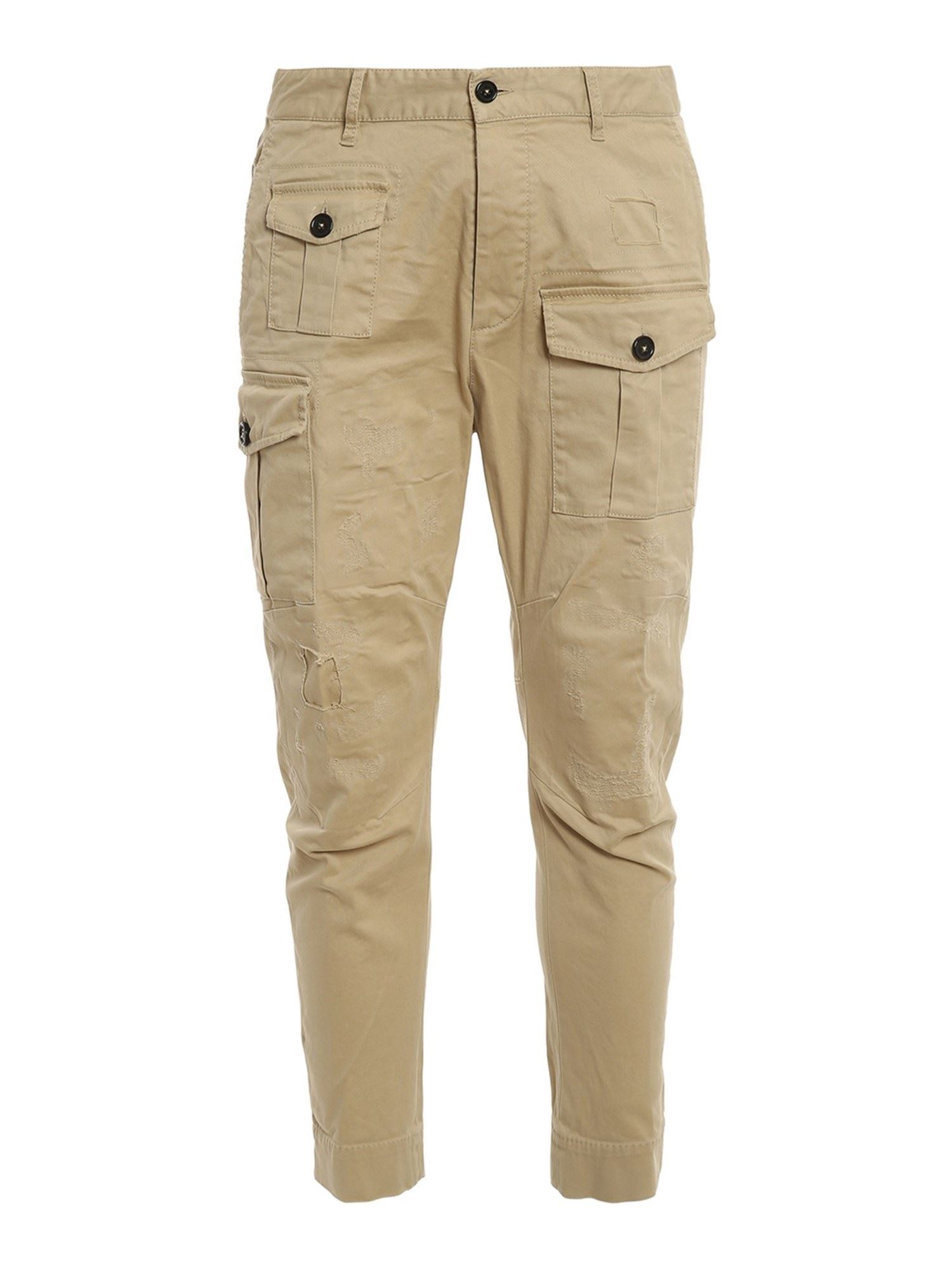 Dsquared2 TWILL COTTON CARGO PANTS IN BEIGE