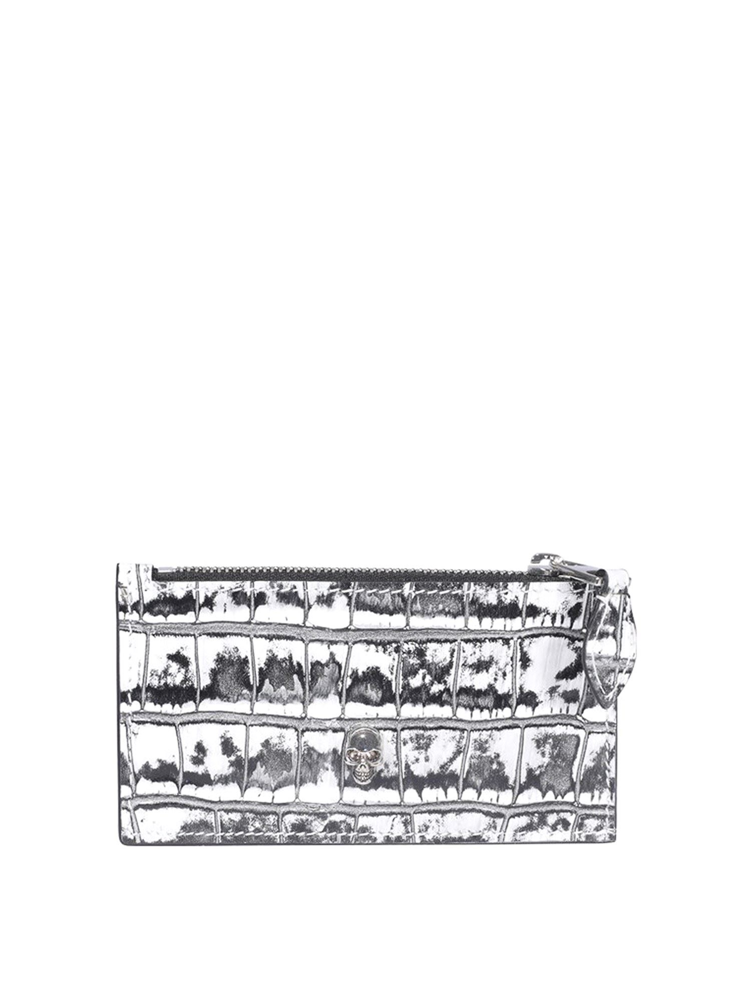 Alexander Mcqueen Cardholders ALEXANDER MCQUEEN CROCO PRINTED LEATHER CARD HOLDER IN BLACK AND WHITE