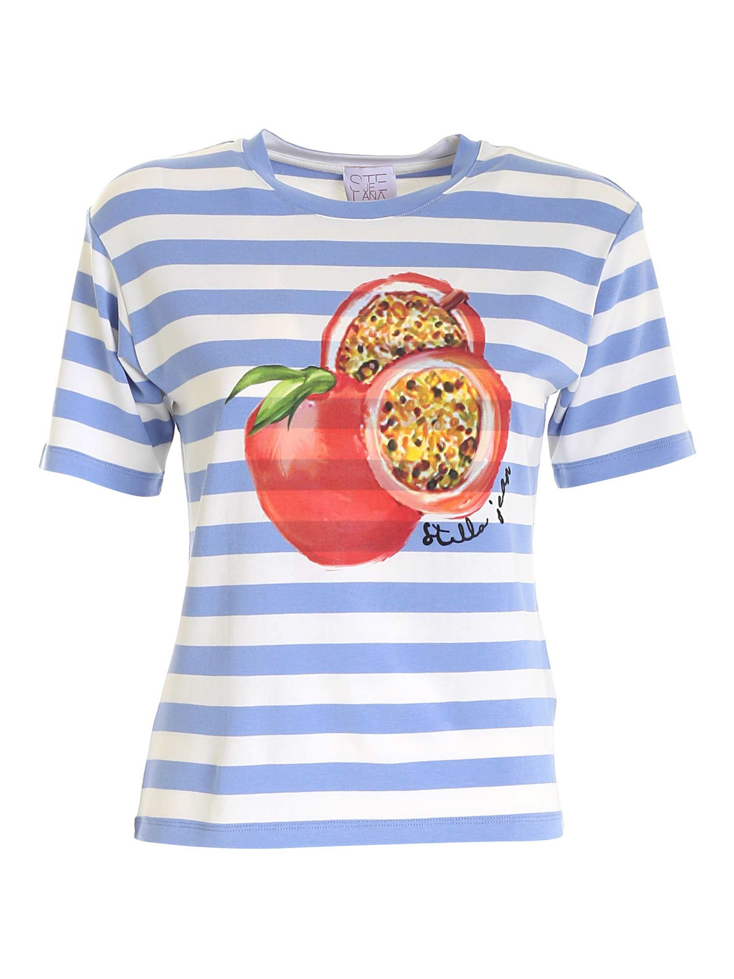 Stella Jean PRINT T-SHIRT IN WHITE AND LIGHT BLUE