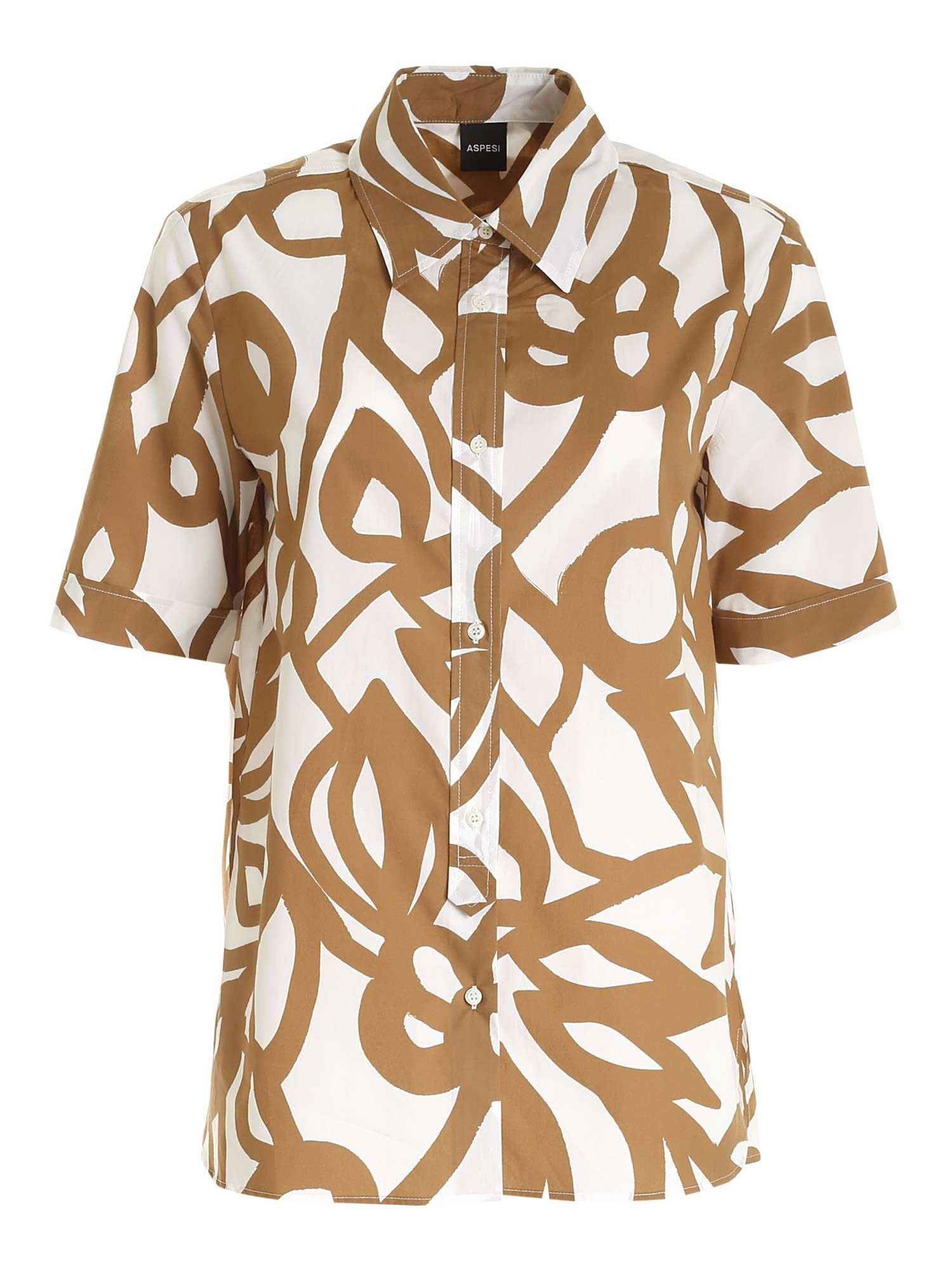 Aspesi Cottons SHORT SLEEVES SHIRT IN BEIGE AND BROWN