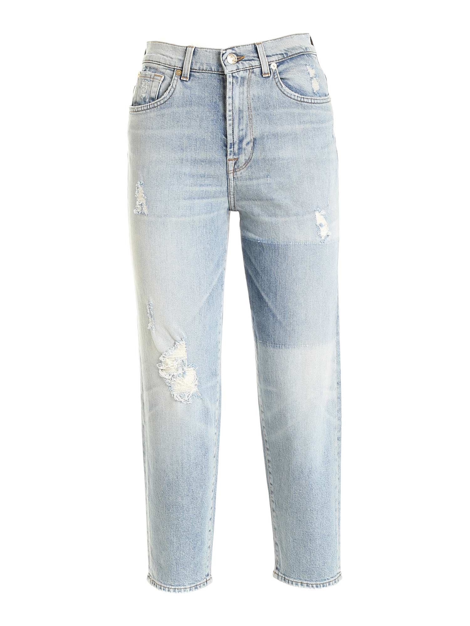 7 For All Mankind MALIA VINTAGE-EFFECT JEANS IN LIGHT BLUE