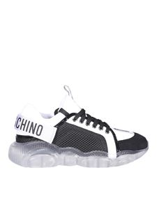 Moschino - Leather and fabric sneakers in black