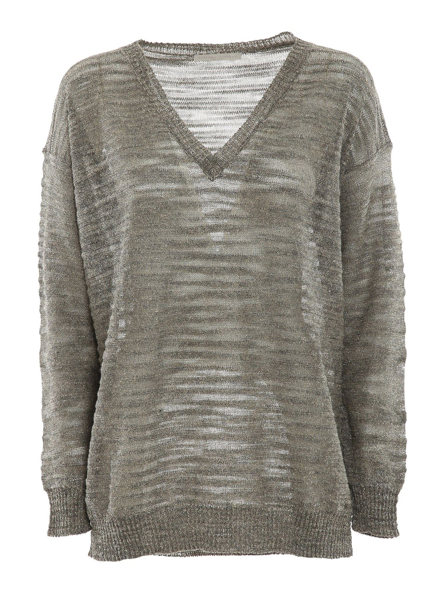 Fabiana Filippi Knits LUREX-KNIT V NECK JUMPER IN GREY