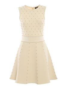 Elisabetta Franchi - Studded knitted dress in cream color