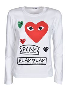 Comme des Garçons Play  - Long-sleeved printed t-shirt in white