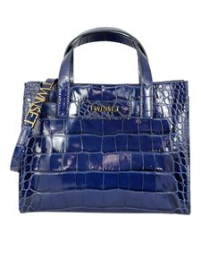 Twin-Set - Croco printed leather Twinset Bag in blue
