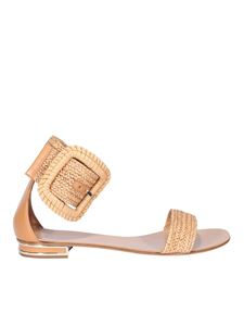Casadei - Leather and woven fabric sandals in beige