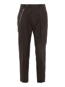 berWich - Striped virgin wool and linen trousers in brown