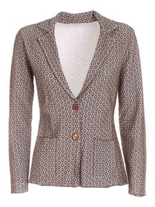 Kangra Cashmere - Lamé jacquard jacket in white and brown