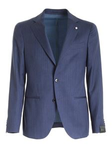 Brando - Single-breasted suit in melange blue