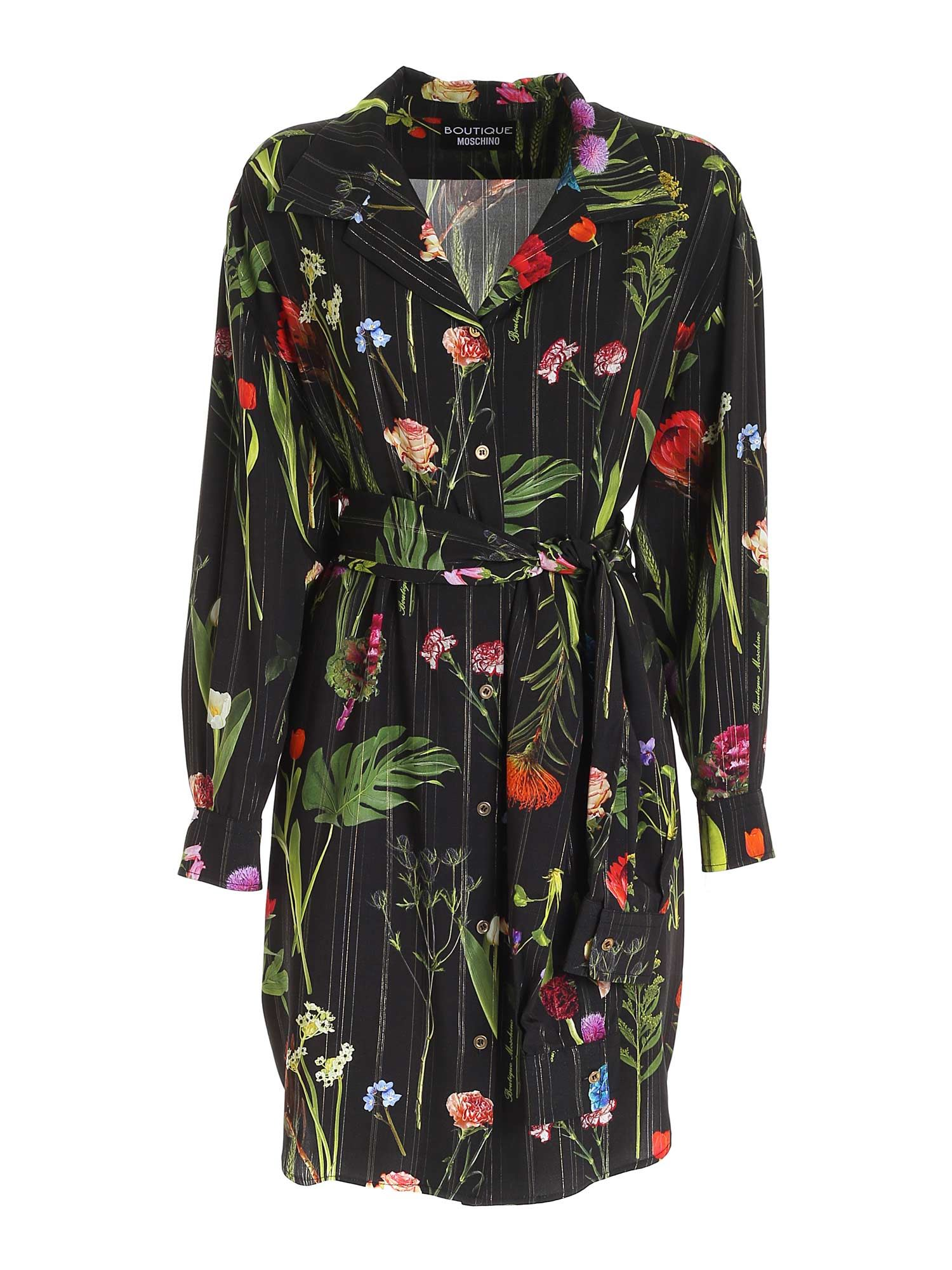 Moschino Boutique MOSCHINO BOUTIQUE FLORAL PRINT SHIRT IN BLACK