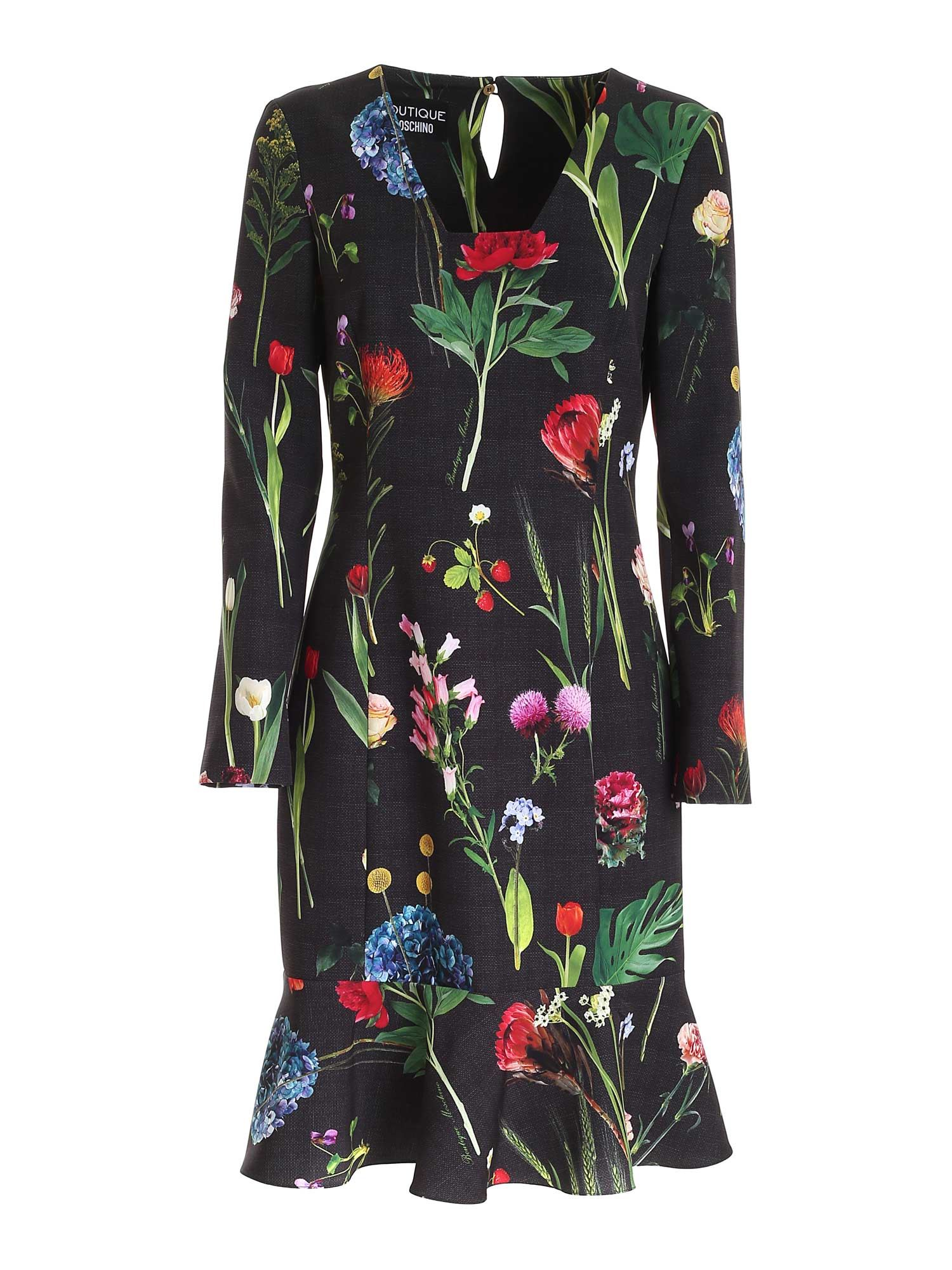 Moschino Boutique MOSCHINO BOUTIQUE FLORAL PRINT DRESS IN BLACK